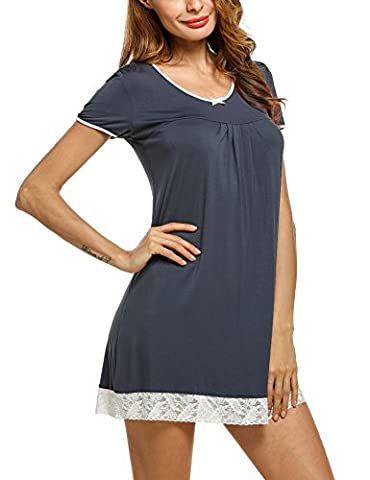 HOTOUCH Womens Nightgown Short-Sleeve V-Neck Nightie Sleep Shirt Gray