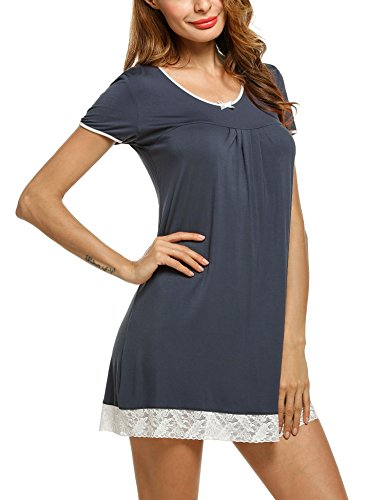 HOTOUCH Damen Kurzer Ärmel Nachthemd Nachtwäsche Mit edler Spitzenverzierung Nachtkleid aus Baumwolle A-Line (Nachtwäsche Nachthemd)