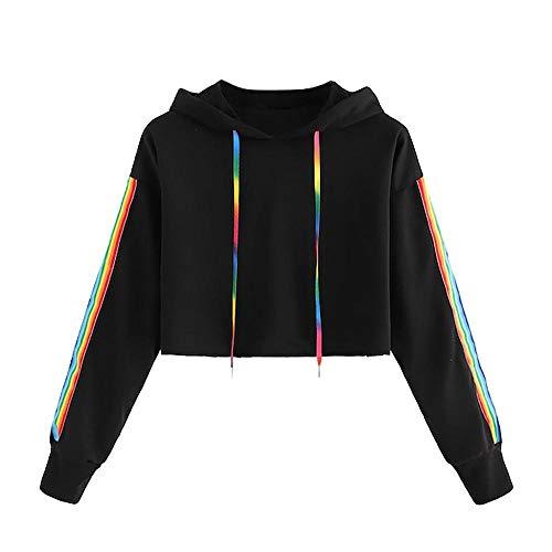 YEBIRAL Damen Sweatshirt, Mädchen Bauchfrei Pullover Streifen Rainbow Pulli Oberteile Mode Sport Crop Tops Casual Kurz Bluse Hoodie Kapuzenpullover(S,Grau) -