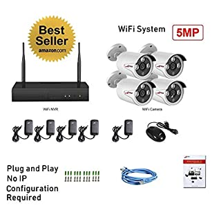 CCTV 4xWiFi 5MP Cameras Plug and Play 4CH WiFi Built-in NVR (NO HDD) Kit Super HD H.265+ P2P Wireless Data Security System Indoor Outdoor Weatherproof IR Night CCTV System Mobile APP