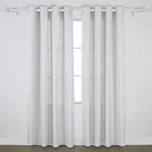 Deconovo 2er Set Oxford Ösenvorhang Gardine 240x135 cm Grau Weiß