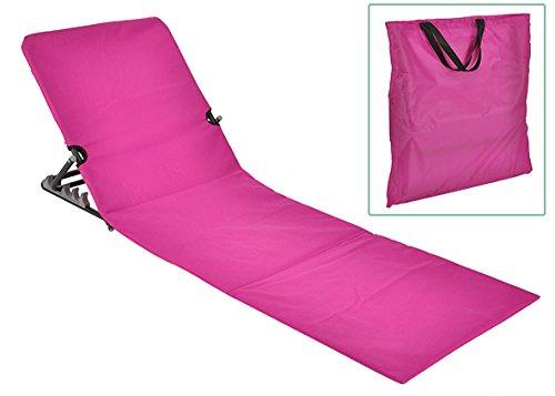 Checklife 92147 Strandliege klappbar 145 x 47 + Tasche Saunaliege Strandmatte Gartenliege verschiedene Farben auswählen (pink)