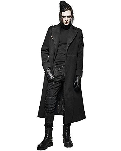 Punk Rave Mens militare cappotto giacca lunga nero Steampunk Esercito gotico Ww1Trench Black Small