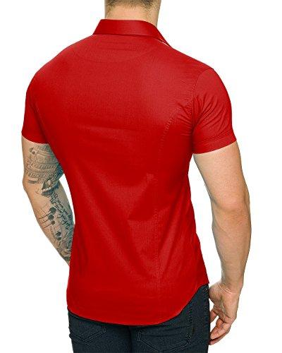 Red Bridge - Chemise casual - Uni - Col Chemise À Patte Boutonnée - Homme Rouge