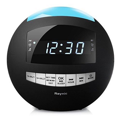 Raynic Bluetooth Réveil radio horloge Radio avec FM, ports de chargement USB, double alarme, éclairage nocturne multicolore Sauvegarde de la batterie, minuteur de sommeil, fonction Snooze