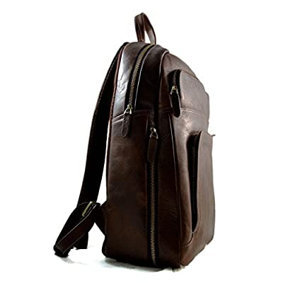 Leather dark brown backpack genuine leather travel bag weekender sports bag gym bag leather shoulder ladies mens satchel light backpack - handmade-bags