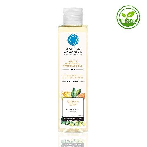 Zaffiro Organica 200 ml Bio Öl mit Vitamin E, Trauben, Grapefruit und Mandelöl für ein glattes Hautbild. Ideal für Gesicht, Körper und Nägel. 100% Naturkosmetik. Spendet reichhaltige Feuchtigkeit für eine pralle Haut. Ideal als After Sun nach dem Sonnenbad, Kaltgepresst, Ecocert Zertifikat, Vegan