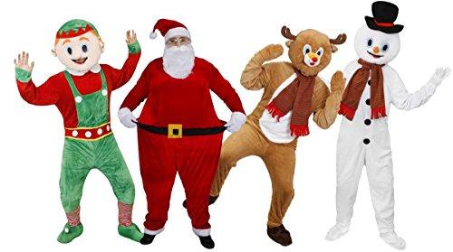 Santa Fat Suit Neuheit Weihnachten Kostüm Vater Xmas Santa Claus groß Overall mit Reifen + Bart + Mütze + weiße Handschuhe