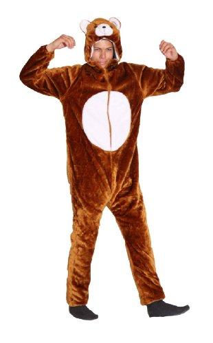 Braun Kostüm Erwachsene Bär Für - Foxxeo Plüsch Bären Kostüm für Erwachsene Damen und Herren Tierkostüm Overall Jumpsuit Größe M