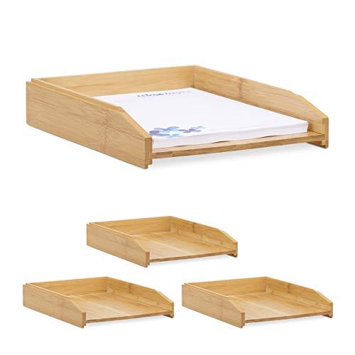 4 x Dokumentenablage, stapelbar, DIN A4 Papier, Büro, Schreibtisch, Briefablage aus Bambusholz, 6 x 25 x 33 cm, natur