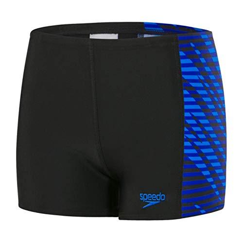 Speedo Jungen Smashbash Allover Panel Aqua Shorts, Jungen, 809530C884, Smashbash Black/Chroma Blue, 164 -