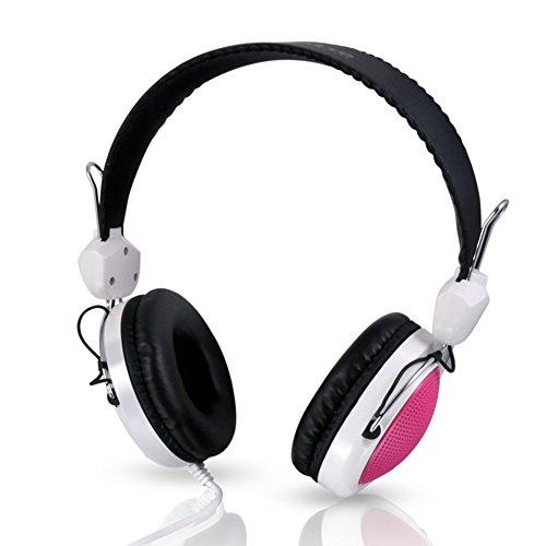 Ousheq Kinder-Ohr-Kopfhörer, faltbar, mit Kabel, Over-Ear-Kopfhörer, Stereo, verhedderungsfreies Kabel, On-Ear-Headset für Kinder, integriertes Mikrofon Rose