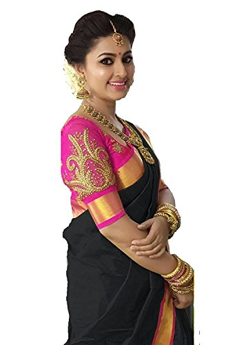 Jenny Fashion Women's Black Embriodered Chanderi Cotton Saree