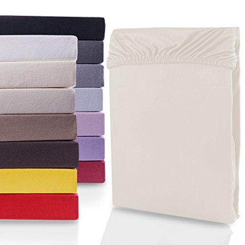 DecoKing 18316 80x200-90x200 cm Spannbettlaken beige 100% Baumwolle Jersey Boxspringbett Spannbetttuch Bettlaken Betttuch Cappuccino Nephrite Collection