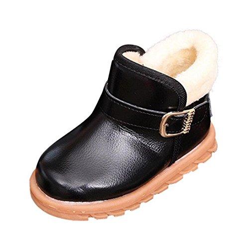 Unisex Schuhe CLOOM Neu Winter Jungs Mädchen Warm Schnee Kleinkind Schuhe Weiche rutschen flache Stiefel Mode Winterstiefel Verdickung Boots (24, Schwarz)