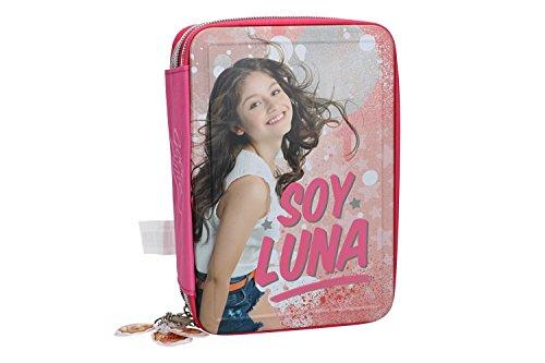 Soy luna astuccio scuola rosa triplo 3 zip completo di accessori vz587
