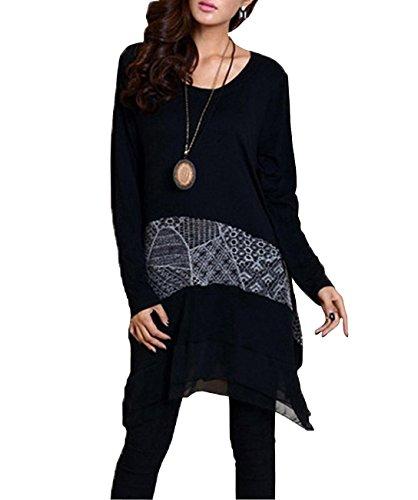 ELLAZHU Damen Einmalig Design Asymmetrisch Freizeit Langarm Kleid DY09 Schwarz