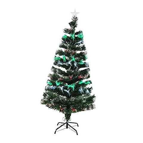 Homcom 830-024 Weihnachtsbaum LED künstlicher Christ/Tannenbaum Glasfaser 150 cm, grün