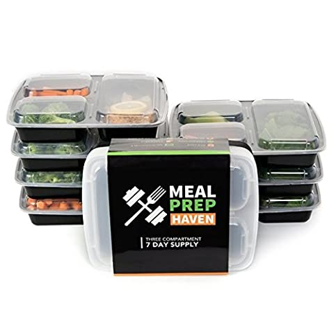 Meal Prep Haven Stackable 3 Compartment Food Containers with Lids, Set of 7 by Meal Prep Haven