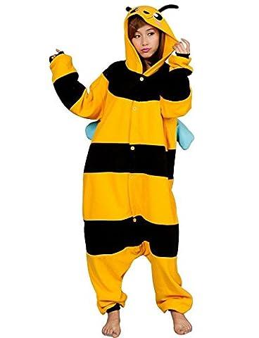 Honeystore Unisex Erwachsene Cosplay Biene Flannel Tier Pyjamas Kostüm Siamesische Kleidung Jumpsuit (Gute Halloween-kostüme Für Gruppe 3)