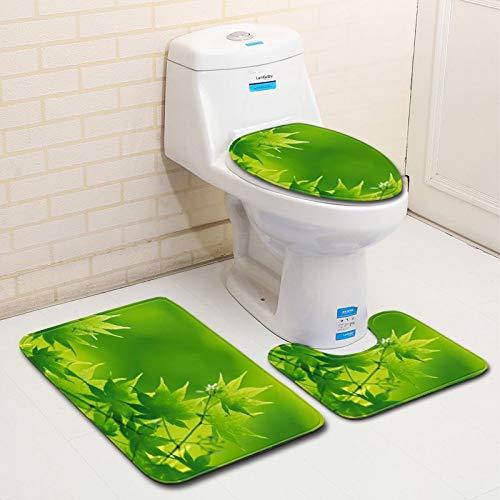 SUYUN 3-teiliges Bade- und Matten-Set ~ Rutschfeste Gummipolsterung und Komfort Blätter grün frisch Badezimmer, Green Maple Leaf, 50 * 80cm+40 * 45cm+40 * 50cm -