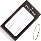 ? INDESTRUCTIBLE Metal Luggage Tag Business Card ID Holder - Go Anywhere Tags for Suitcases Backpacks Rucksacks Baggage Briefcases�- Quality Flight Accessories & Gifts by OW Travel (Black)