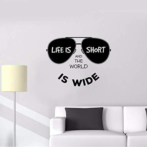 Sonnenbrille Wandtattoos Lifestyle Inschrift Positive Welt Wandaufkleber Removable Home Decoration Kunstwand Wanddekor 56x73cm