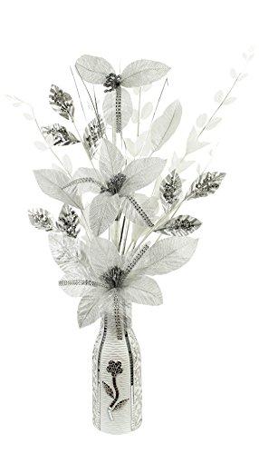 Plata Blanco Diamante Artificial Flores jarrón Blanco