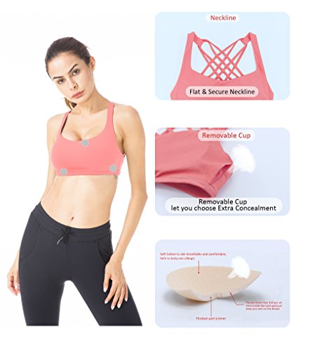 Queenie Ke Donna Reggiseno Sportivo Yoga Spalline Incrociate Imbottite Rimovibili Rosa