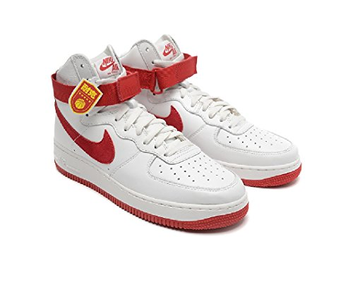 Nike Air Force 1 Hi Retro Qs, Chaussures de Handball Homme Multicolore - Blanco / Rojo (Summit White/University Red)