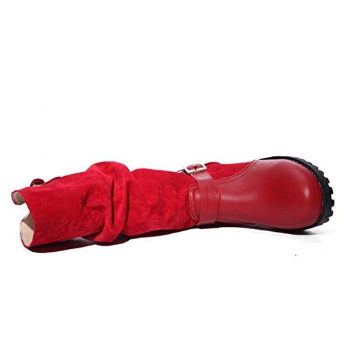 Scamosciata Wealsex 42 Piatta Invernale Vitello Numero Flessibile Di Di Pelle Autunno Stati 40 Metà Avvio Cavaliere 43 Ansa Donna Ampia 41 Rosso Comfort Scarpa rrw1q45