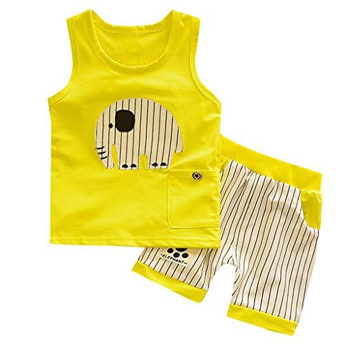 LianMengMVP Vetement Garçon 0 à 3 Ans Ensemble Enfants Garçon Pyjama Bébé Garçon Naissance Ete Pas Cher Chemisier Garçon sans Manche Vest Haut Top Bébé Garçon Fille T-Shirt + Pantalon