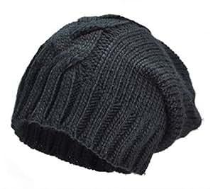 PURECITY© Produit Original - Bonnet Long Oversize Torsade Coloris Noir - Tendance Hiver Mixte - Ski - Snow - Surf - Montagne - Skate - Fashion