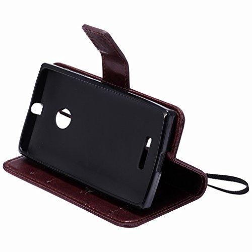 Custodia Microsoft Lumia 435 Cover Case, Ougger Fortunato Foglia Stampa Portafoglio PU Pelle Magnetico Stand Morbido Silicone Flip Bumper Protettivo Gomma Shell Borsa Custodie con Slot per Schede (Blu Marrone