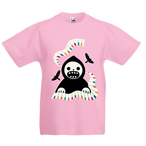 lepni.me Kinder Jungen/Mädchen T-Shirt Halloween Horror Nights - The Death is Playing on Piano - cool Scarry Design (1-2 Years Pink ()