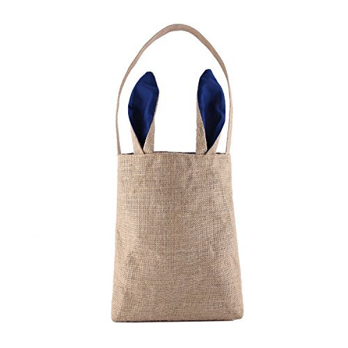 S-MAX Dual Layer Bunny Ears Design Jute Cloth Material,Size 9.5*12*3.8,Weight 4.93 OZ,Bear 55 Ibs Jute Tote Bag Carrying Eggs/Gifts for Easter/Party (Navy Blue) by PJS-MAX ()