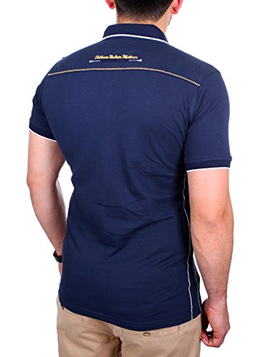 Reslad Polo-Shirt Herren Slim Fit Designer Polo-Hemd Kurzarm-Shirt RS-5201 Navyblau