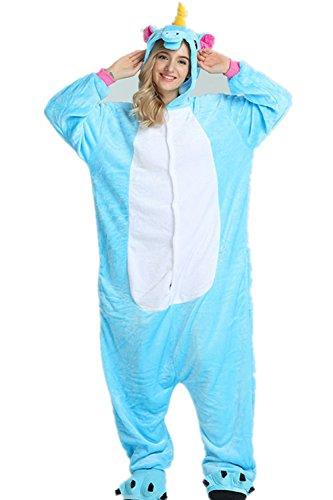 Kenmont Déguisement Licorne Animal Pyjama Adulte Unisexe Anime Cosplay Combinaison Costume à capuche Halloween Party Noël Tenue (Size S for 148-160CM, Bleu)