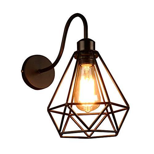 NIUYAO Lampe Applique Murale Forme de Diamant Fer Forgé Cadre Cage Métal Wall Light Rétro Industrielle Lampe Mur