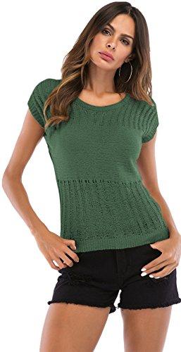 SZIVYSHI Manga Corta Escote Redondo Hollow Out Knitwear Suéter Jersey Sweater Blusón Blusa Shirt Camisa T-Shirt Camiseta Playera Top Verde L