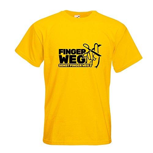 Kiwistar Finger Weg! - Nicht anfasen! T-Shirt in 15 Verschiedenen Farben - Herren Funshirt Bedruckt Design Sprüche Spruch Motive Oberteil Baumwolle Print Größe S M L XL XXL Gelb