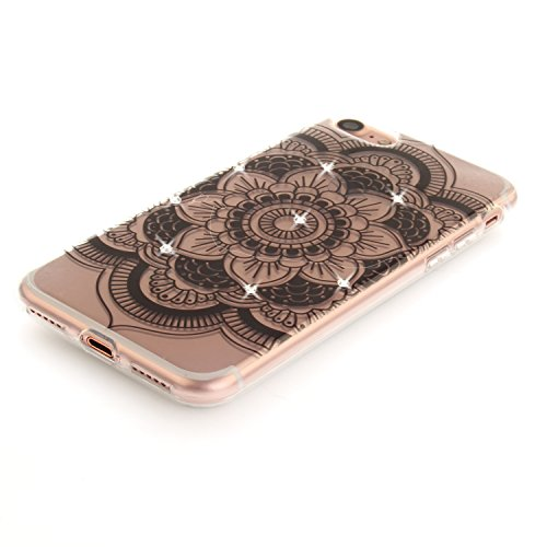 Per iPhone 7,Sunrive® Custodia Cover Case in molle Trasparente Ultra Sottile TPU silicone Morbida Flessibile Pelle Antigraffio protettiva(Fiori neri) Fiore nero
