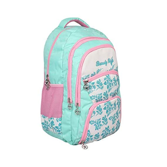 HOT SHOT Beauty Girl Polyester 30 L Waterproof School, College Casual Trip Tour Light Green White Shoulder Backpack for Boys and Girls