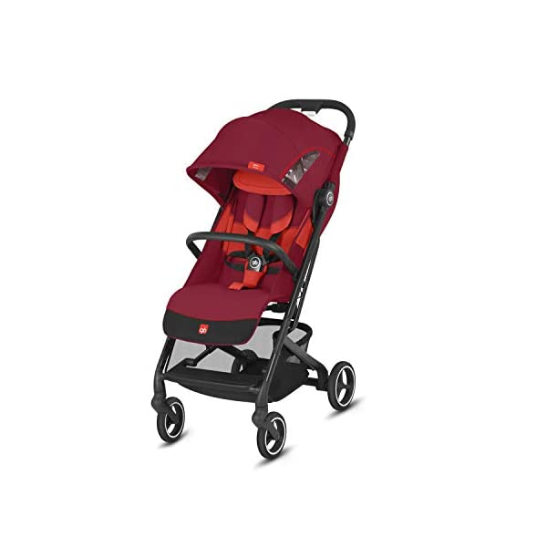 gb Gold Qbit+ All-City Compact Pushchair, Lie-Flat Reclining Seat, from Birth to 17 kg (Approx. 4 Years), Black Frame, Rose Red GB High-quality and stable compact pushchair for newborns up to approx. 17 kg (approx. 4 years) with one-hand folding mechanism and full flat lying position Optimum comfort for children of all sizes: One-hand adjustable backrest and leg rest, Head and shoulder pads for extra comfort, Easy pushing on flat surfaces thanks to single wheels on front and rear, Four wheel suspension, Swivelling and lockable front wheels Simple folding with one-hand folding mechanism to compact travel size of L:27x W:43x H:58 cm, Can be used as 3-in-1 travel system with separately available adapter for gb or CYBEX infant car seats and Cot to Go pushchair attachment 1