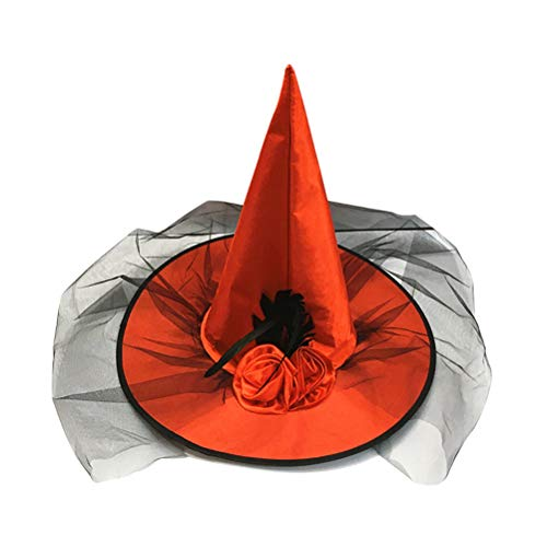 Amosfun Halloween Hexe Hut Mesh Witch Cap Halloween Kostüme Maskerade Party Cosplay Zubehör (rot)