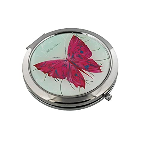 Sophia 7cm Silver Plated Compact Mirror - Pink Butterfly