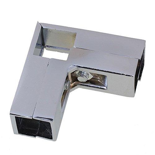 bqlzr Aluminum Silber 3Way L Form verchromt Anschluss Quadratisch Rohr-Klemme für 25mm Rohr Kleid Kleiderschrank Schiene -