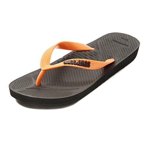 Aussie Soles, Sandales Plateforme Mixte Adulte Solid Black/Orange