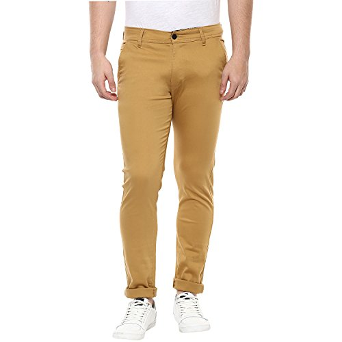 Routeen Khakhi 100% Cotton Lycra Casual Slim Fit stretchable Chinos Trousers pants for Men
