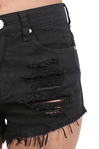 PILOT® ourlet effiloché déchiré short en jean Noir